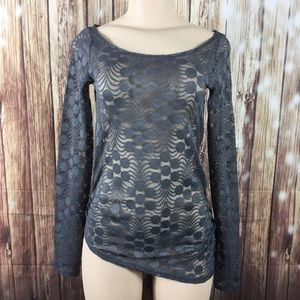 Anthropologie Meadow Rue Gray XS Lace Sheer Top